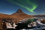 Aurora Borealis over Mt Kirkjufell in Grundarfjörður, Snæfellsnes, west Iceland