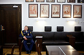 WARSAW, POLAND, DECEMBER 20, 2016:<br /> Member of the Parliament Guard sits tired in the Sejm, Polish parliament building, during the standoff with the government over the freedom of press and illegal budget ruling.<br />  The opposition objects to government plans to limit the number of journalists allowed to cover parliamentary proceedings. The MPs' protest delayed a budget vote, which was later held away from the main parliament chamber. (Photo by Piotr Malecki / Napo Images) **** WARSZAWA, 20.12.2016. Czlonek Strazy Marszalkowskiej podczas kryzysu parlamentarnego w obronie wolnosci mediow <br /> Fot. Piotr Malecki / Napo Images ###ZDJECIE MOZE BYC UZYTE W KONTEKSCIE NIEOBRAZAJACYM OSOB PRZEDSTAWIONYCH NA FOTOGRAFII### ### Cena zdjecia w/g cennika FORUM plus 50% (cena minimalna 100 PLN)