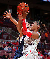 Ohio State Buckeyes guard Raven Ferguson (31) is guarded by Old Dominion Lady Monarchs forward Shakeva Richards (53) during Friday's NCAA Division I basketball game at Value City Arena in Columbus on November 22, 2013. Ohio State led at halftime, 36-26. (Barbara J. Perenic/The Columbus Dispatch)