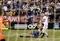 Cristiano Ronaldo watches his shot against Trevino Patricio. Real Madrid defeated Club America 3-2 at Candlestick Park in San Francisco, California on August 4th, 2010.