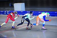 SCHAATSEN: HEERENVEEN: Thialf, 07-06-2012, Zomerijs, Annouk van der Weijden, Linda de Vries, Pien Keulstra, Team Pursuit training, ©foto Martin de Jong