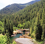 The Clackamas River winding through the foothills of the Cascades Range in Oregon