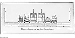 Pittsburgh PA: View of an old lantern slide created by Brady Stewart for the Pittsburgh Citizens Committee on City Plan (CCCP) when they were crafting the City Plan.  <br /> This view is a drawing of the recommended six-lane thoroughfare on Liberty Avenue in Pittsburgh.<br /> The Citizen's Committee was organized to produce the Pittsburgh Plan for infrastructure including: playgrounds, major streets, Parks, Public Transit, Railroads and Waterways. Some of the cities most accomplished and influential citizens volunteered to serve on the various committees from 1920 thru 1924. Examples Richard and Andrew Mellon, Charles Armstrong, Henry Buhl Jr., Edgar, Issac &amp; Oliver Kaufmann, Roy A. Hunt, George Davison and many leading Pittburgh businesses. They all paid an annual subscription (dues) to fund the activities of the Citizen's Committee. Brady Stewart provided photographic services for the committee.<br /> The negative and print were ordered by the Pittsburgh Regional Planning Association for a meeting in 1968.