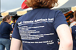 17 August 2013: A U.S. fan wears a shirt featuring insults about Canada and Canadians. The United States Men's National Rugby Team played the Canada Men's Nationa Rugby Team at Blackbaud Stadium in Charleston, South Carolina in the first leg of their 2015 Rugby World Cup Qualifying Series. Canada won the game 27-9.