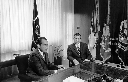 Washington, DC - File photo of U.S. President Richard M. Nixon meeting with advisor Donald Rumsfeld on 11 August, 1969.<br /> Credit: White House / CNP