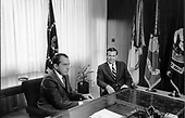 Washington, DC - File photo of U.S. President Richard M. Nixon meeting with advisor Donald Rumsfeld on 11 August, 1969.<br /> Credit: White House / CNP