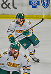 21 February 2015:  University of Vermont Catamount Forward Travis Blanleil, a Freshman from Kelowna, British Columbia, in second period action against the Merrimack College Warriors at Gutterson Fieldhouse in Burlington, Vermont. The teams played to a scoreless tie as the Cats wrapped up their Hockey East regular home season. Mandatory Credit: Ed Wolfstein Photo *** RAW (NEF) Image File Available ***