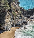 A closeup shot of McWay Falls, an 80-foot waterfall, in Julia Pfeiffer Burns State Park, Big Sur, California