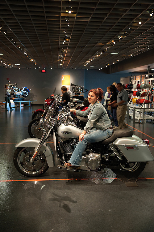 UNITED STATES -Sept 27: Visitors enjoy the visitors center while they wait for a tour the Harley-Davidson plant in York, Pennsylvania . (Photo By Douglas Graham/Roll Call )