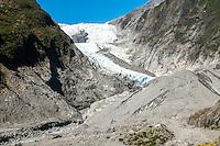 Terminal face of retreating Franz Josef Glacier, Westland National Park, West Coast, World Heritage, South Island, New Zealand