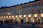 Shops and People in St Carlo Square, Turin - Torino, Italy