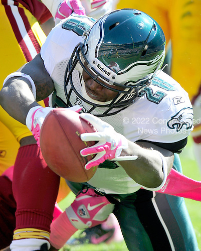 Philadelphia Eagles running back Dion Lewis (28) lunges for the end zone in first quarter action against the Washington Redskins at FedEx Field in Landover, Maryland on Sunday, October 16, 2011.  The Eagles did not score on the play, but went on to win the game 20 - 13..Credit: Ron Sachs / CNP