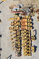 Baumaschinen: EUROPA, DEUTSCHLAND, SCHLESWIG- HOLSTEIN, GLINDE, (GERMANY), 06.09.2007: Baumaschinen, CAT, Zeppelin, Radlader, Bagger, Minibagger, gebraucht neu, gelb, ordentlich, Reihe, Luftbild, Luftansicht, Aufwind-Luftbilder.. c o p y r i g h t : A U F W I N D - L U F T B I L D E R . de.G e r t r u d - B a e u m e r - S t i e g 1 0 2, 2 1 0 3 5 H a m b u r g , G e r m a n y P h o n e + 4 9 (0) 1 7 1 - 6 8 6 6 0 6 9 E m a i l H w e i 1 @ a o l . c o m w w w . a u f w i n d - l u f t b i l d e r . d e.K o n t o : P o s t b a n k H a m b u r g .B l z : 2 0 0 1 0 0 2 0  K o n t o : 5 8 3 6 5 7 2 0 9.C o p y r i g h t n u r f u e r j o u r n a l i s t i s c h Z w e c k e, keine P e r s o e n l i c h ke i t s r e c h t e v o r h a n d e n, V e r o e f f e n t l i c h u n g n u r m i t H o n o r a r n a c h M F M, N a m e n s n e n n u n g u n d B e l e g e x e m p l a r !.