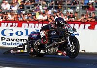 Nov 10, 2013; Pomona, CA, USA; NHRA pro stock motorcycle rider Eddie Krawiec during the Auto Club Finals at Auto Club Raceway at Pomona. Mandatory Credit: Mark J. Rebilas-