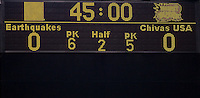 Final Score. The San Jose Earthquakes defeated Chivas USA 6-5 in shootout after drawing 0-0 in regulation time to win the inagural Sacramento Cup at Raley Field in Sacramento, California on June 12, 2010.