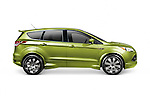 Green 2013 Ford Escape HPP SUV car side view isolated on white background with clipping path