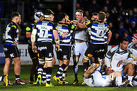 Rob Webber of Bath Rugby gets to know Will Welch of Newcastle Falcons. Aviva Premiership match, between Bath Rugby and Newcastle Falcons on March 18, 2016 at the Recreation Ground in Bath, England. Photo by: Patrick Khachfe / Onside Images