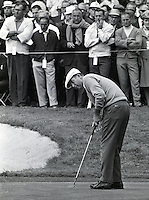 Ken Venturi putting during the 1966 U.S. Open at the Olympic Club in S.F. (copyright 1966 Ron Riesterer)