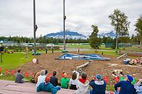 Tree climbing contest at the Alaska State Fair, Palmer, Alaska.