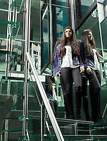 Rena Abboud stands at the top of the custom staircase of steel and reinforced glass in her London home.