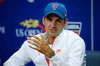 Roger Federer of Switzerland speaks during a news conference at the Arthur ASHE stadium during the US Open 2015 tennis Tournament in New York. 08.29.2015.  Eduardo MunozAlvarez/VIEWpress.