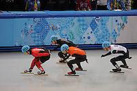 OLYMPICS: SOCHI: Iceberg Skating Palace, 13-02-2014, Shorttrack, Men's 1000m, Heats, Charle Cournoyer (#203 | CAN), Chris Creveling (#259 | USA), Niels Kerstholt (#247 | NED), John Eley (#217 | GBR), ©photo Martin de Jong