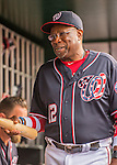 22 July 2016: Washington Nationals Manager Dusty Baker holds a bat in the dugout prior to the start of play against the San Diego Padres at Nationals Park in Washington, DC. The Padres defeated the Nationals 5-3 to take the first game of their 3-game, weekend series. Mandatory Credit: Ed Wolfstein Photo *** RAW (NEF) Image File Available ***