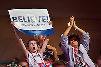 Fans cheer for Mitt Romney during day four of the RNC at the Tampa Bay Times Forum in Tampa Thurs. Aug. 31, 2012.