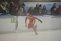 SCHAATSEN: DEVENTER: IJsstadion De Scheg, 12-10-2013, Nationale schaatswedstrijd de IJsselcup, Thijsje Oenema met brace om haar pols, ©foto Martin de Jong