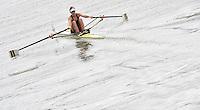 Ottensheim, AUSTRIA.  AUS JW1X,  Alexanda HAGEN, move's away from the start pontoon, at the 2008 FISA Senior and Junior Rowing Championships,  Linz/Ottensheim. Wednesday,  23/07/2008.  [Mandatory Credit: Peter SPURRIER, Intersport Images]. Rowing Course: Linz/ Ottensheim, Austria