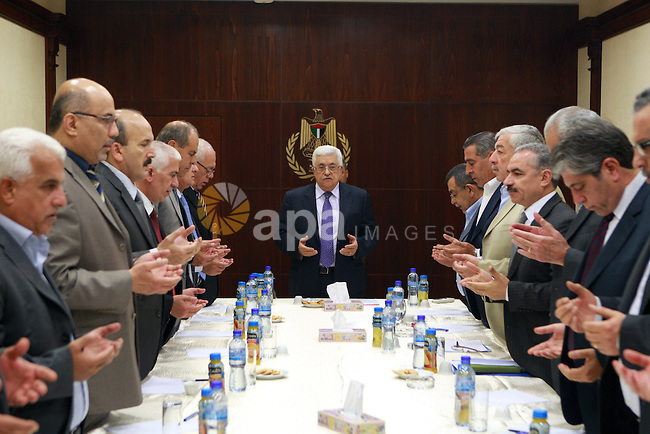 Palestinian President, Mahmoud Abbas (Abu Mazen), meets with Palestinian Governors, in the West Bank city of Ramallah on June 12, 2012. Photo by Thaer Ganaim