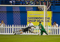 03 August 2010 Panathinaikos FC forward Djibril Cisse No. 9 scores the games first goal during an international friendly  between Inter Milan FC and Panathinaikos FC at the Rogers Centre in Toronto..