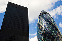 Swiss Re Building and Aviva Building, London, England, United Kingdom