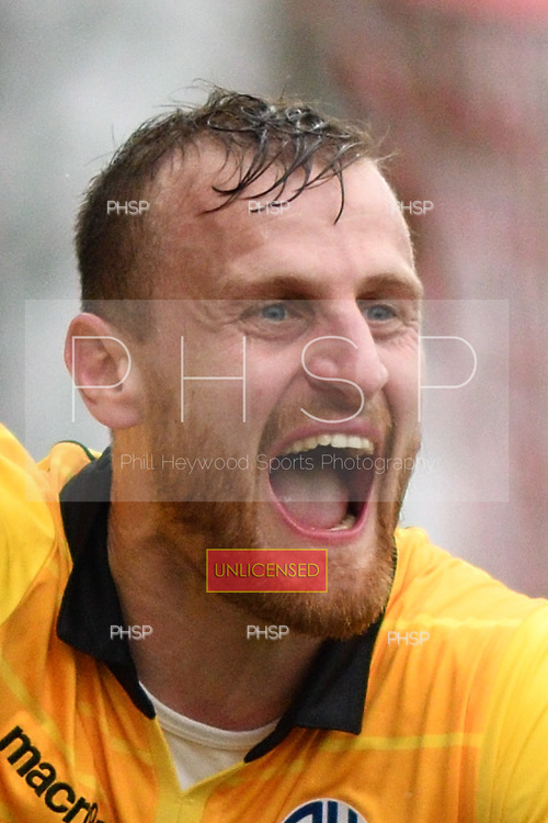 11/03/2017 Sky Bet League 1 Fleetwood Town v Bolton Wanderers<br /> <br /> David Wheater celebrates after scoring  Bolton's second goal