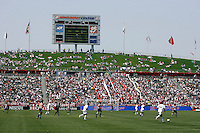 20 May 2007: Wide angle overview inside the stadium with grass seating under scoreboard for fans  during a 1-1 tie for MLS Chivas USA vs. Los Angeles Galaxy pro soccer teams at the Home Depot Center in Carson, CA.