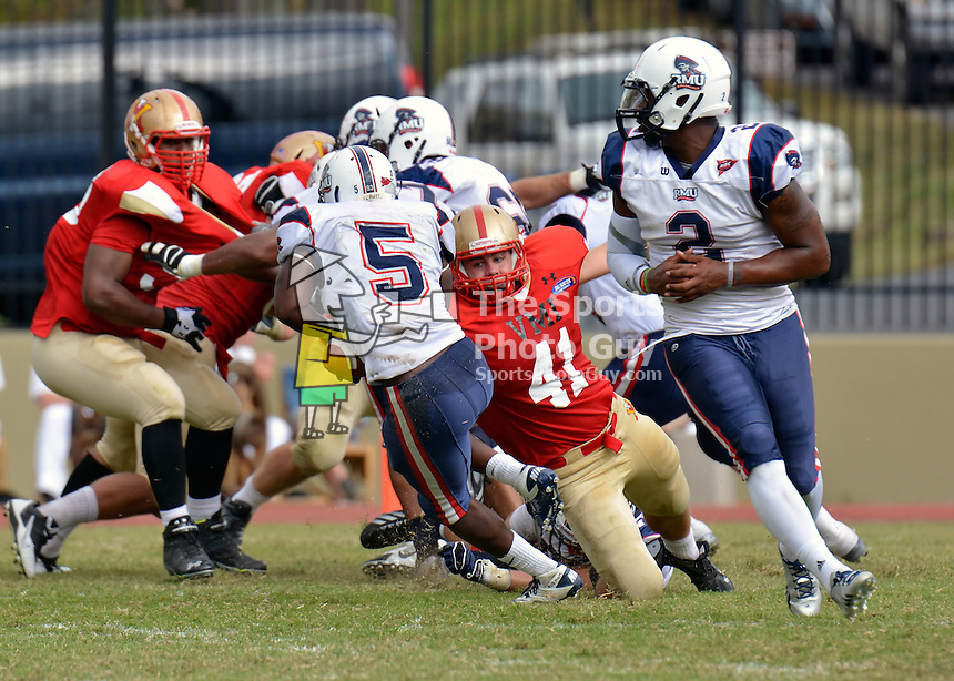 NCAA FCS: Robert Morris defeats VMI, 37-31, in double-overtime thriller.