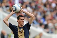 Sebastien Le Toux (9) of the Philadelphia Union on a throw in. The New York Red Bulls defeated the Philadelphia Union 2-1 during a Major League Soccer (MLS) match at Red Bull Arena in Harrison, NJ, on April 24, 2010.