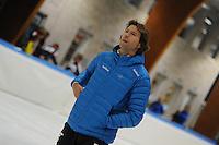 SCHAATSEN: LEEUWARDEN: 14-10-2015, Elfstedenhal, Training, Trainer/Coach Team Beslist.nl Gerard van Velde, ©foto Martin de Jong