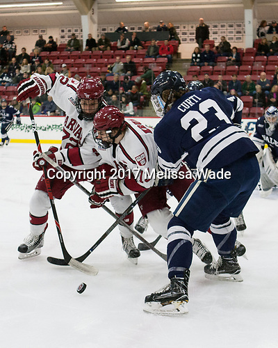Phil Zielonka (Harvard - 72), Nathan Krusko (Harvard - 13), Charlie Curti (Yale - 23) - The Harvard University Crimson defeated the Yale University Bulldogs 6-4 in the opening game of their ECAC quarterfinal series on Friday, March 10, 2017, at Bright-Landry Hockey Center in Boston, Massachusetts.