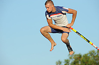 FIERLJEPPEN: IJLST: 07-08-2014, Nard Brandsma wint met 20,69m, ©foto Martin de Jong