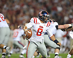 Ole Miss quarterback Jeremiah Masoli (8) passes at Bryant-Denny Stadium in Tuscaloosa, Ala.  on Saturday, October 16, 2010. Alabama won 23-10.
