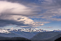 Grand Tetons with dramatic clouds in the sky