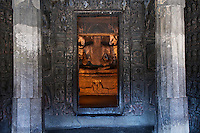 """Ajanta, a UNESCO world heritage site, is famous for its Buddhist rock-cut cave temples and monasteries with their extraordinary wall paintings. The temples are hollowed out of granite cliffs on the inner side of a 20-meter ravine in the Wagurna River valley, 105 km northeast of Aurangabad, at a site of great scenic beauty. About 30 caves were excavated between the 1st century BCE and the 7th century CE and are of two types, caityas (""""sanctuaries"""") and viharas (""""monasteries""""). Although the sculpture, particularly the rich ornamentation of the caitya pillars, is noteworthy, it is the fresco-type paintings that are the chief interest of Ajanta. These paintings depict colorful Buddhist legends and divinities with an exuberance and vitality that is unsurpassed in Indian art.†[Adapted from Encyclopedia Britannica]"""