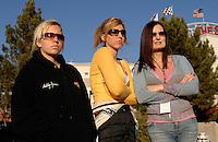 "Jan 20, 2007; Las Vegas, NV, USA; NHRA Super Comp drivers Brittany Force , Courtney Force with their mother Lauri Force during preseason testing at ""The Strip"" at Las Vegas Motor Speedway in Las Vegas, NV. Mandatory Credit: Mark J. Rebilas"