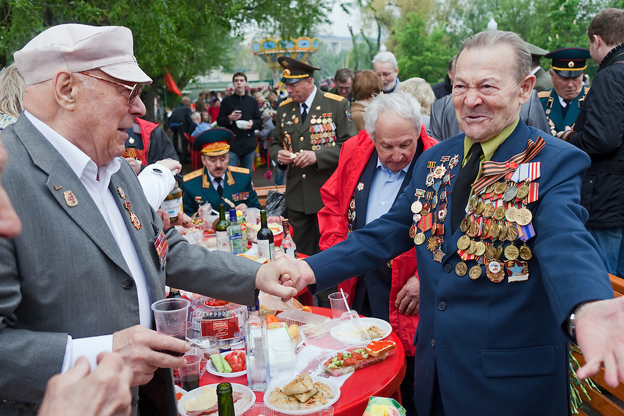 Moscow, Russia, 09/05/2012..Military veterans greet one another as Russian World War Two veterans and well-wishers gather in Gorky Park during the countrys annual Victory Day celebrations.