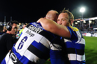 Matt Garvey and Ross Batty of Bath Rugby. Aviva Premiership match, between Bath Rugby and Sale Sharks on October 7, 2016 at the Recreation Ground in Bath, England. Photo by: Patrick Khachfe / Onside Images