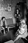 Chiswick Women Aid Shelter for Battered Women. London England 1976. Mothers and their children in a morning room.