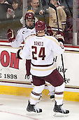 Johnny Gaudreau (BC - 13), Bill Arnold (BC - 24) - The Boston College Eagles defeated the visiting University of New Hampshire Wildcats 5-2 on Friday, January 11, 2013, at Kelley Rink in Conte Forum in Chestnut Hill, Massachusetts.