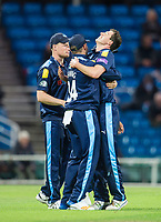 Picture by Allan McKenzie/SWpix.com - 16/05/2017 - Cricket - Royal London One-Day Cup - Yorkshire County Cricket Club v Leicestershire County Cricket Club - Headingley Cricket Ground, Leeds, England - Yorkshire's Matthew Fisher is congratulated on dismissing Leicestershire's Clint McKay.