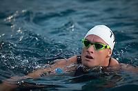 Luke McKenzie prepares for the swim start at the 2013 Ironman World Championship in Kailua-Kona, Hawaii on October 12, 2013.